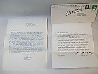 Ray Bradbury - Signed Letter
